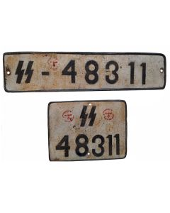 WW2 GERMAN WAFFEN SS VEHICLE LICENCE PLATE SET