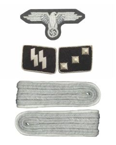 SS OFFICER INSIGNIA SET 2ND LIEUTENANT (UNTERSTURMFUHRER)  ww2