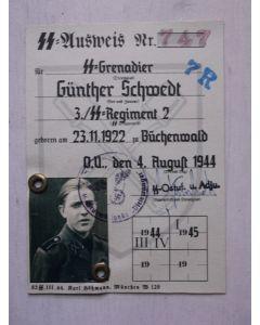 SS AUSWEIS GRENADIER GUNTHER SCHWEDT STURMBRIGADE DIRLEWANGER