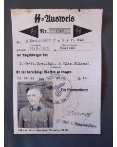 SS AUSWEIS GRENADIER MAX FABER RGT DER FUHRER SS DIVISION DAS REICH