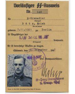 SS AUSWEIS SS GRENADIER ERICH BATZ 2./SS INF ERSATZ BTL OST DOCUMENT