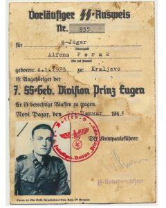 SS AUSWEIS SS JAGER ALFONS PERAK 4.SS GEBIRGSJAGER RGT 1 PRINZ EUGEN DOCUMENT