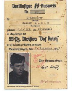 SS AUSWEIS SS KANONIER BALDUR KLEIN 1.SS PZ ARTILLERIE RGT DAS REICH DOCUMENT