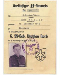SS AUSWEIS SS ROTTENFUHRER ROLF MULLER 3.SS GEBIRGSJAGER RGT 11 REINHARD HEYDRICH DIVISION NORD DOCUMENT