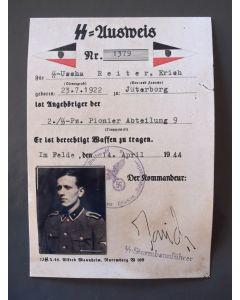 SS AUSWEIS USCHA E. REITER DIVISION HOHENSTAUFEN