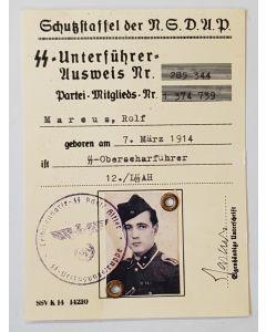 SS NSDAP AUSWEIS SS-OBERSCHARFUHRER MARCUS,ROLF DOCUMENT