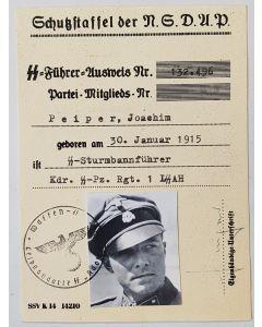 SS NSDAP AUSWEIS SS-STURMBANNFUHRER PEIPER, JOACHIM DOCUMENT