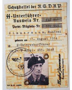 SS NSDAP AUSWEIS SS-UNTERSCHARFUHRER ZIMMERMANN, MANFRED DOCUMENT