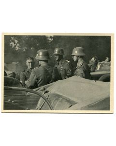 "SS POST CARD POLICE IN POLAND""SECURITY POLICE EINSATZKOMMANDO DURING A REST STOP"""