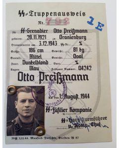SS TRUPPENAUSWEIS OTTO PREISSMANN SS STURMBRIGADE DIRLEWANGER