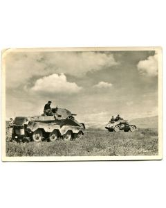 """UNSERE WAFFEN SS POST CARD """"ARMORED RECONNAISSANCE CARS FORWARD!"""""""