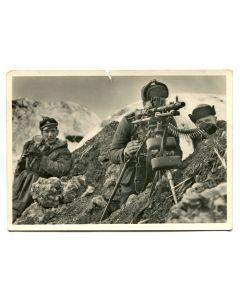 "UNSERE WAFFEN SS POST CARD ""AT THE MACHINE GUN"""