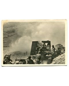 "UNSERE WAFFEN SS POST CARD ""FLAK MAKING A GROUND SHOT"""