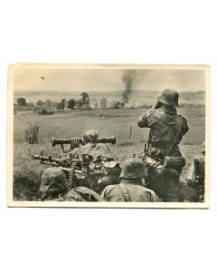 "UNSERE WAFFEN SS POST CARD ""IN BATTLE AROUND A SOVIET VILLAGE"""