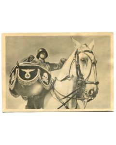 "UNSERE WAFFEN SS POST CARD ""THE KETTLE DRUMMER OF THE BUGLE COPRS IN A SS CALVARY DIVISION"""