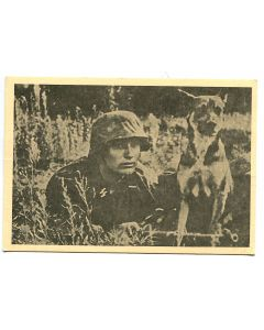 "UNSERE WAFFEN SS POST CARD ""THE MESSENGER AND HIS DOG"""