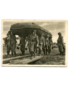 "UNSERE WAFFEN SS POST CARD ""WITH THE RUBBER BOAT TO THE RIVER"""