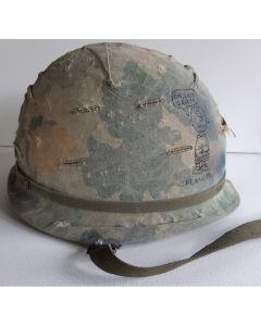 VIETNAM ERA U.S. M1 HELMET WITH GRAFFITI COVER