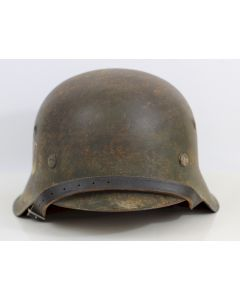 WAFFEN SS GREEN M42 HELMET WITH SINGLE SS DECAL