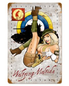 "WALTZING MATILDA METAL SIGN 18"" X 12"""