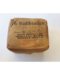 WW2 GERMAN FIELD BANDAGE DRESSING FIRST AID MULLBINDEN DATED JAN 28, 1942