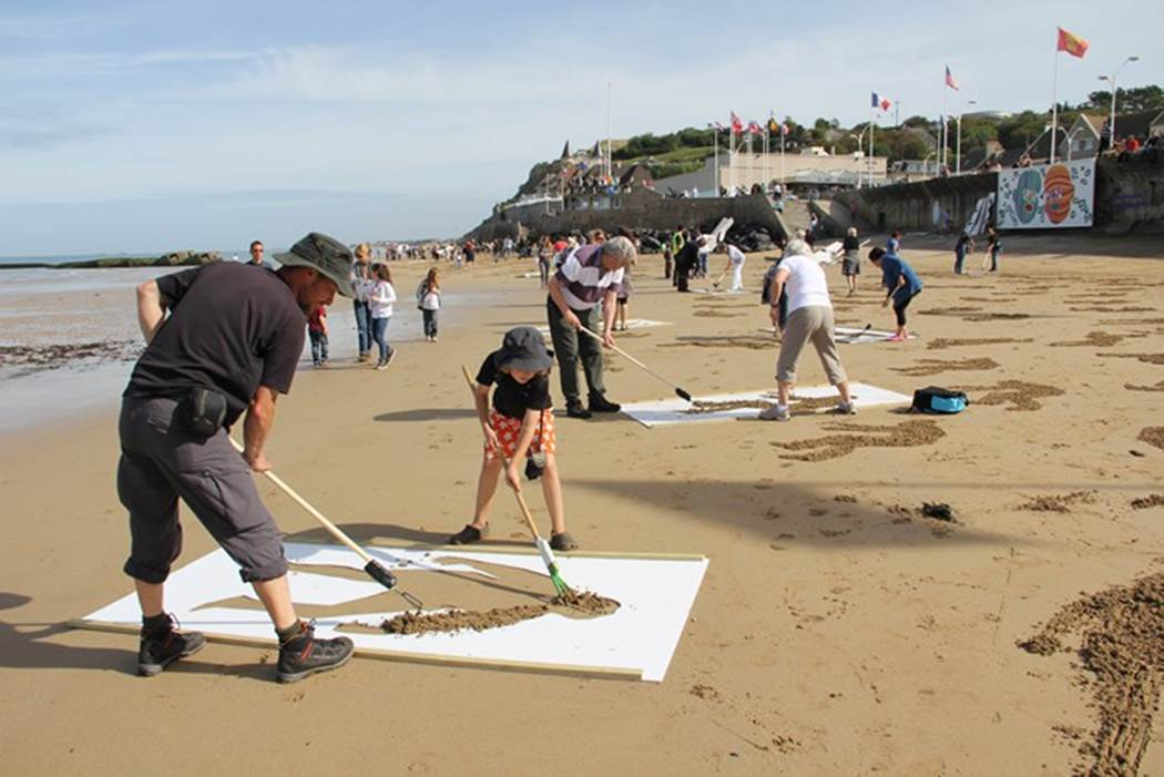 Working on Fallen Soldiers Memorial Normandy Beach WW2